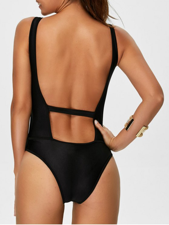 Backless Zipper Front Swimsuit - BLACK S Mobile