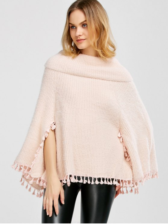 Cowl Neck Wool Poncho - PINK ONE SIZE Mobile