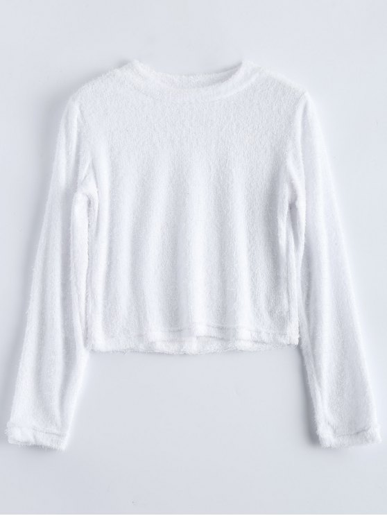 High Neck Fuzzy Cropped T-Shirt - WHITE L Mobile