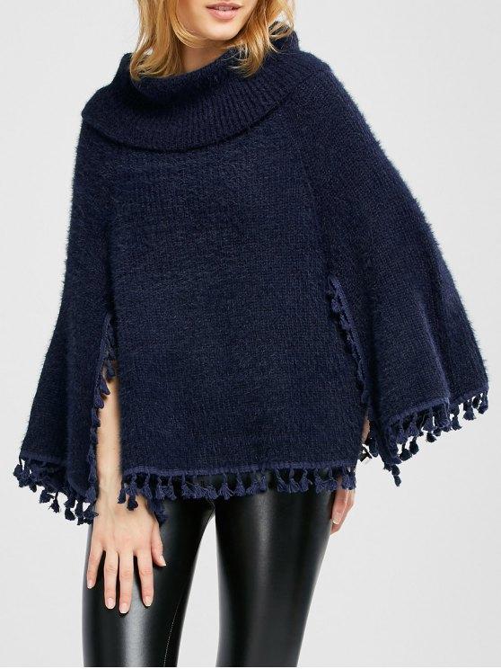 Cowl Neck Wool Poncho - PURPLISH BLUE ONE SIZE Mobile