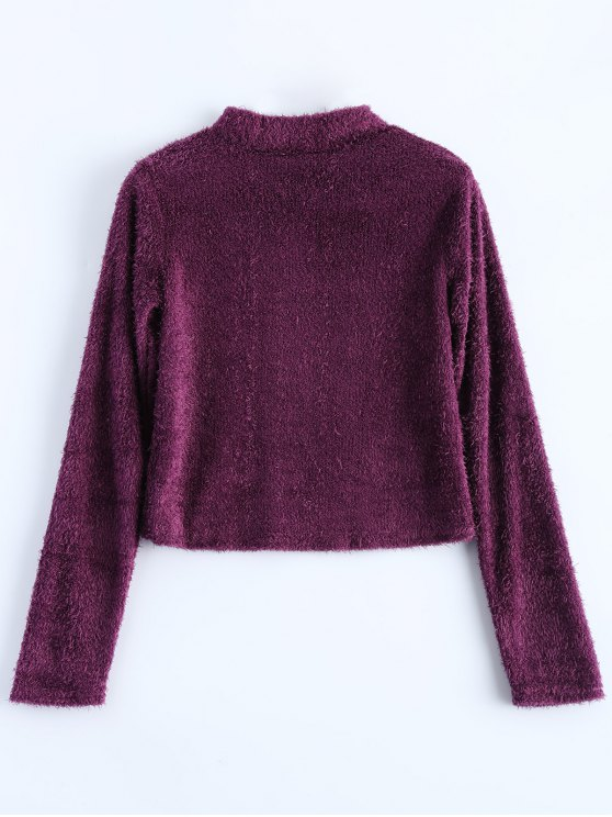 High Neck Fuzzy Cropped T-Shirt - PURPLISH RED M Mobile