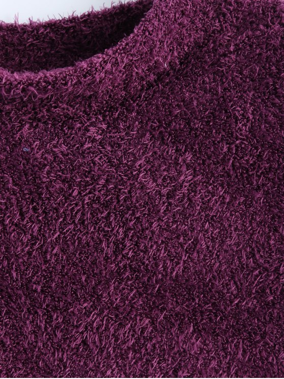 High Neck Fuzzy Cropped T-Shirt - PURPLISH RED S Mobile