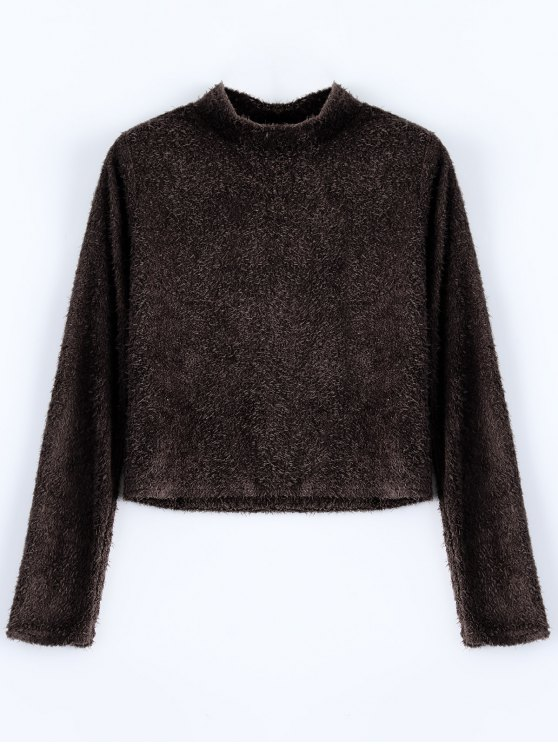 High Neck Fuzzy Cropped T-Shirt - COFFEE L Mobile