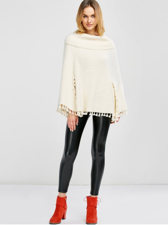 Cowl Neck Wool Poncho - OFF-WHITE ONE SIZE Mobile