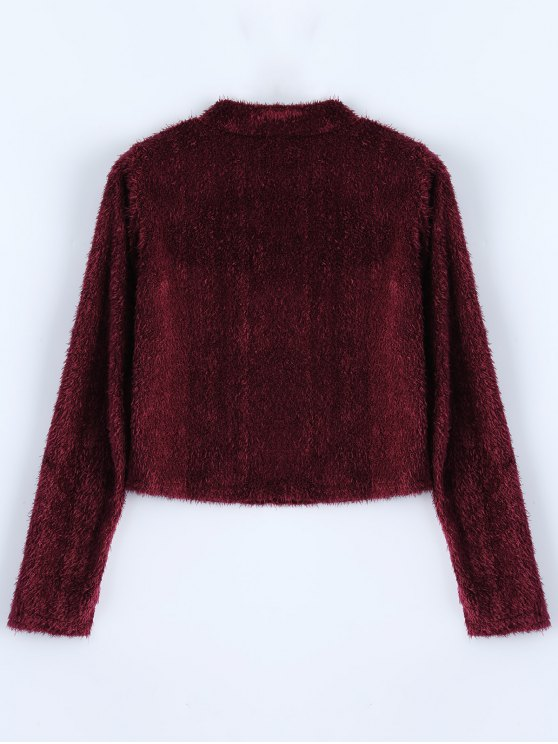 High Neck Fuzzy Cropped T-Shirt - WINE RED M Mobile