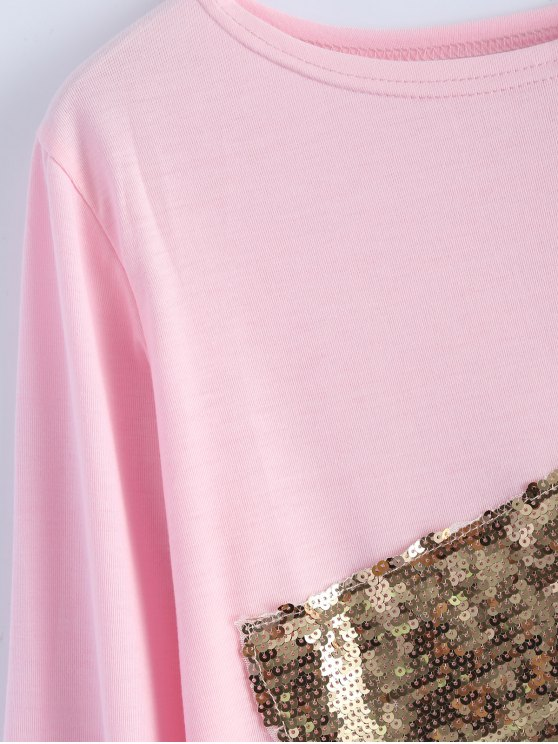 Sequined Asymmetric T-Shirt - PINK S Mobile