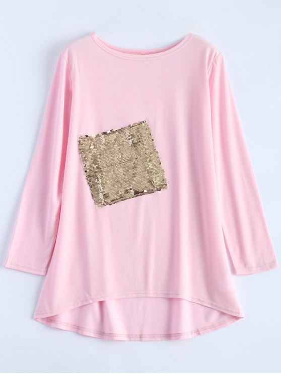 Sequined Asymmetric T-Shirt - PINK XL Mobile