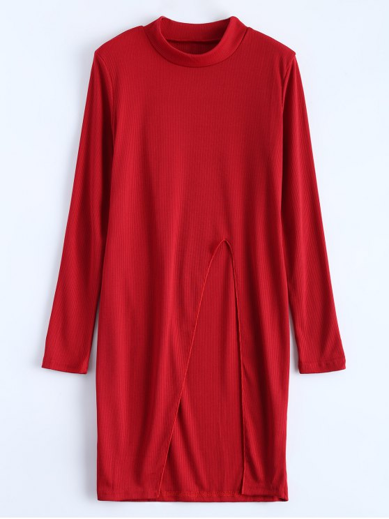 High Neck High Slit T-Shirt - RED S Mobile