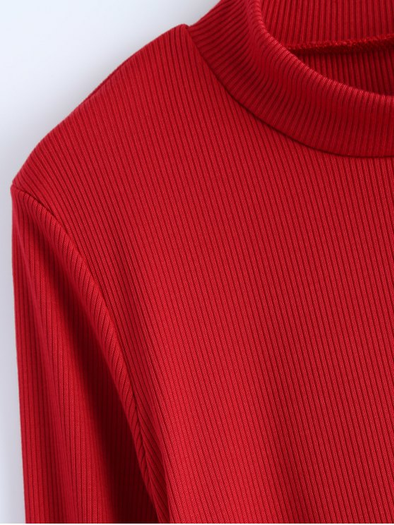High Neck High Slit T-Shirt - RED M Mobile