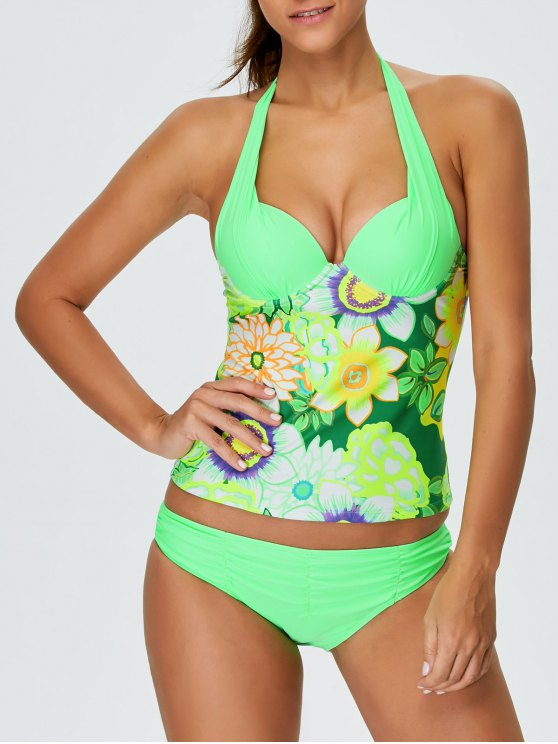 fancy Floral Halter Underwire Tankini Swimsuit - GREEN M