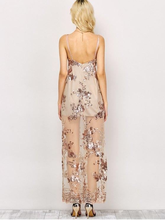 Low Cut High Slit Sequins Maxi Dress - APRICOT M Mobile