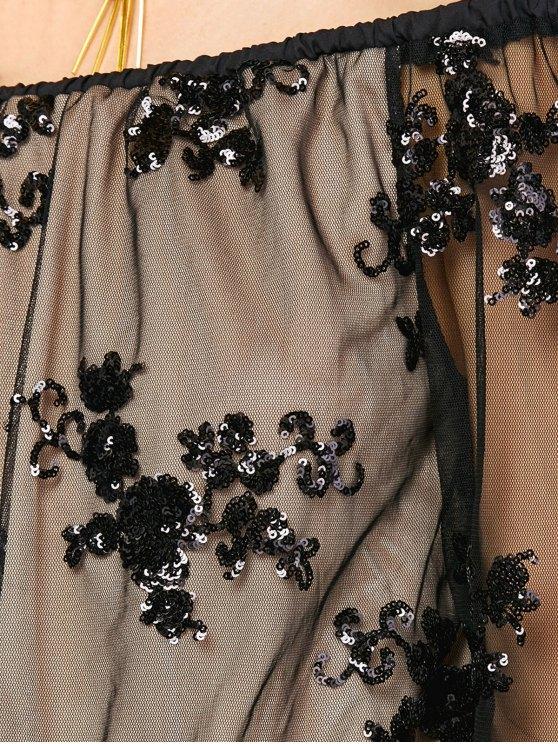 Off Shoulder Sequins Long Sleeve Romper - BLACK L Mobile