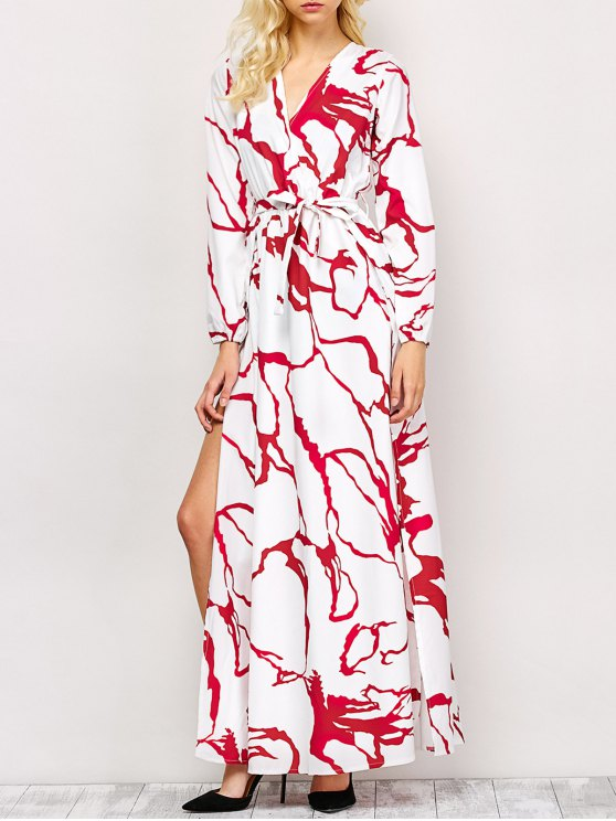 High Slit Long Sleeve Maxi Dress - RED AND WHITE M Mobile