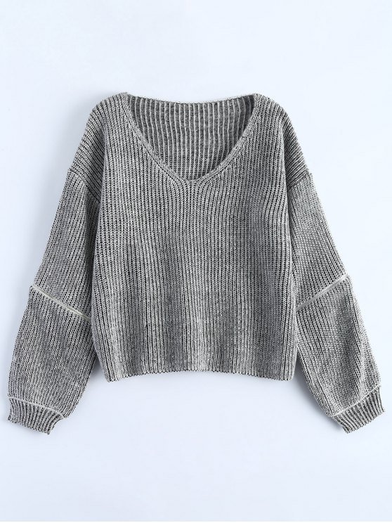 Zipper Cutout V Neck Sweater - GRAY ONE SIZE Mobile