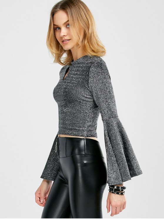 Keyhole Bell Sleeve Glitter Top - SILVER ONE SIZE Mobile