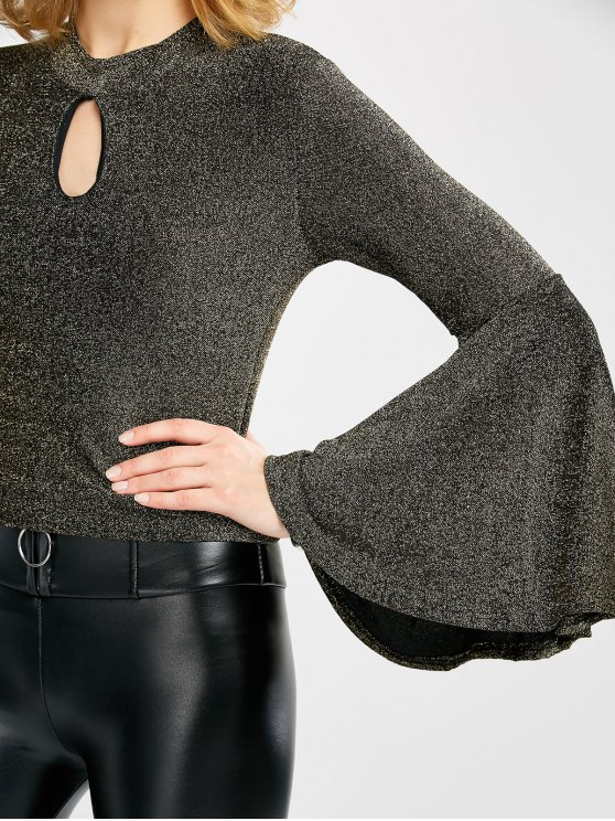 Keyhole Bell Sleeve Glitter Top - GOLDEN ONE SIZE Mobile
