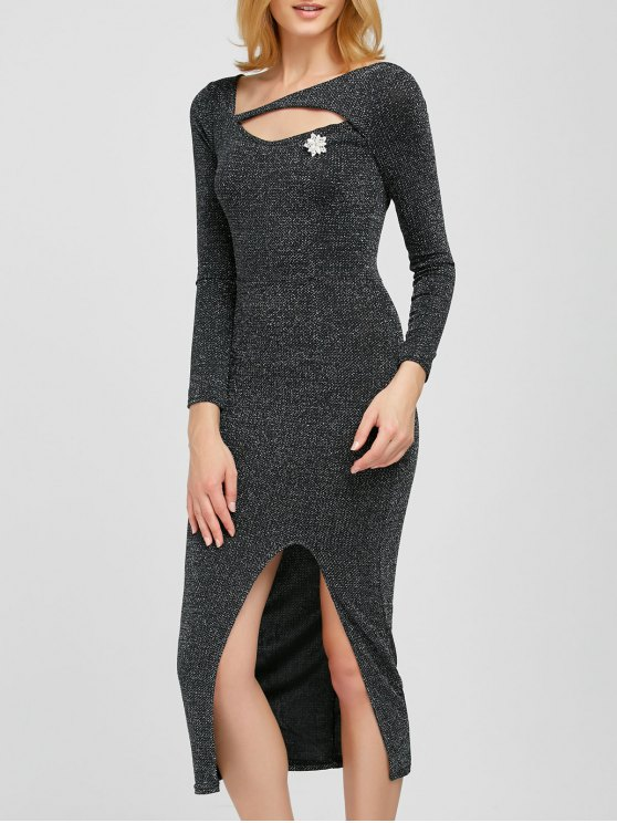 Shimmer Pencil Dress - SILVER GRAY ONE SIZE Mobile