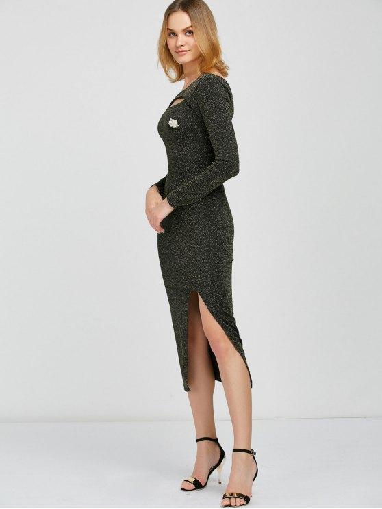 Shimmer Pencil Dress - BLACK AND GOLDEN ONE SIZE Mobile