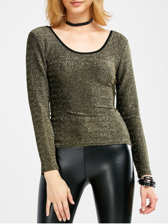 Long Sleeve Glitter Scoop Tee - GOLDEN ONE SIZE Mobile