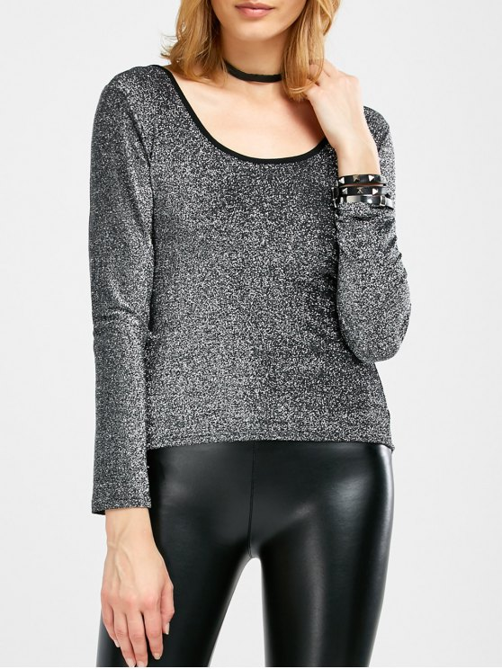 Long Sleeve Glitter Scoop Tee - SILVER ONE SIZE Mobile