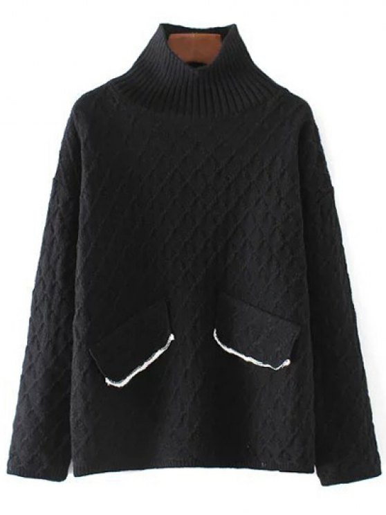 Jacquard Mock Neck Sweater - BLACK ONE SIZE Mobile