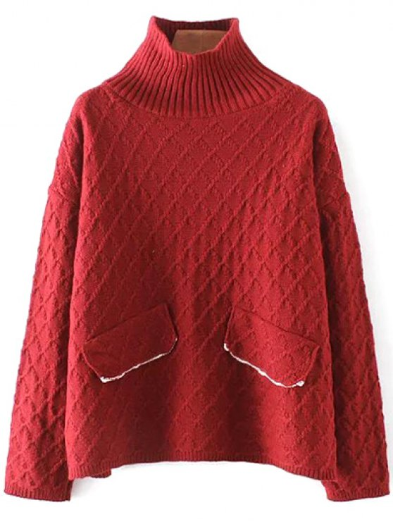 Jacquard Mock Neck Sweater - RED ONE SIZE Mobile