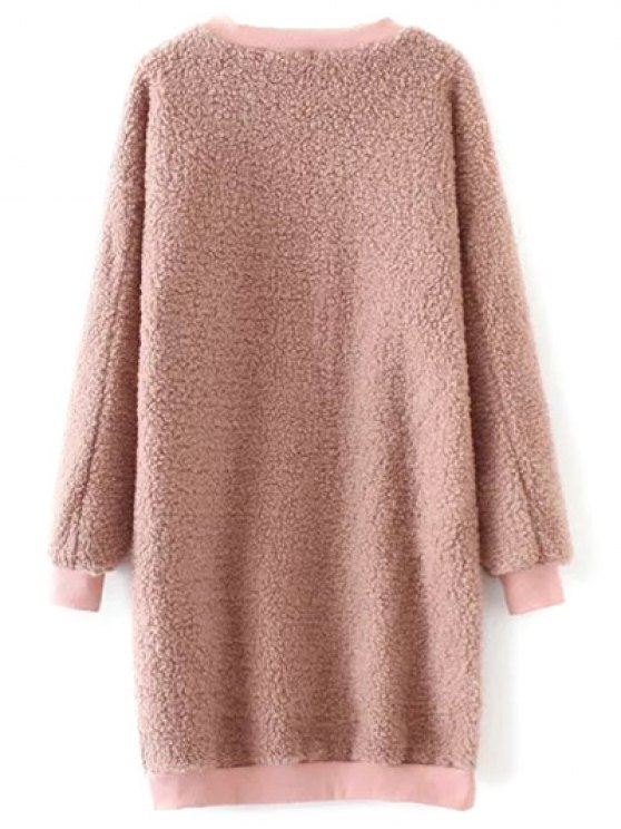 Sequined Lamb Wool Straight Dress - PINK ONE SIZE Mobile