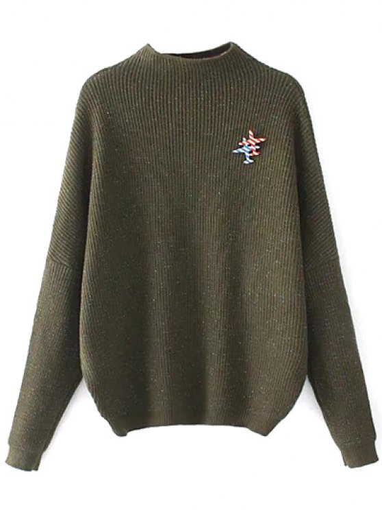 Oversized Mock Neck Sweater With Brooch - ARMY GREEN ONE SIZE Mobile
