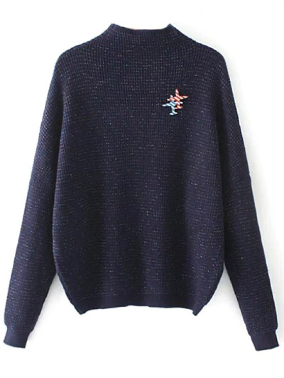 Oversized Mock Neck Sweater With Brooch - PURPLISH BLUE ONE SIZE Mobile
