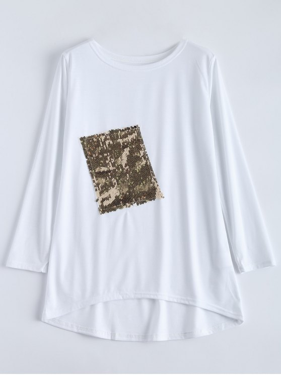 Sequined Asymmetric T-Shirt - WHITE XL Mobile