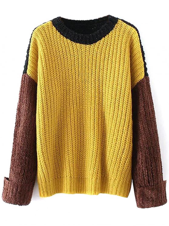 Oversized Color Block Chunky Sweater - YELLOW ONE SIZE Mobile
