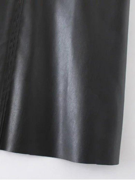 PU Leather Cami Mini Dress - BLACK M Mobile