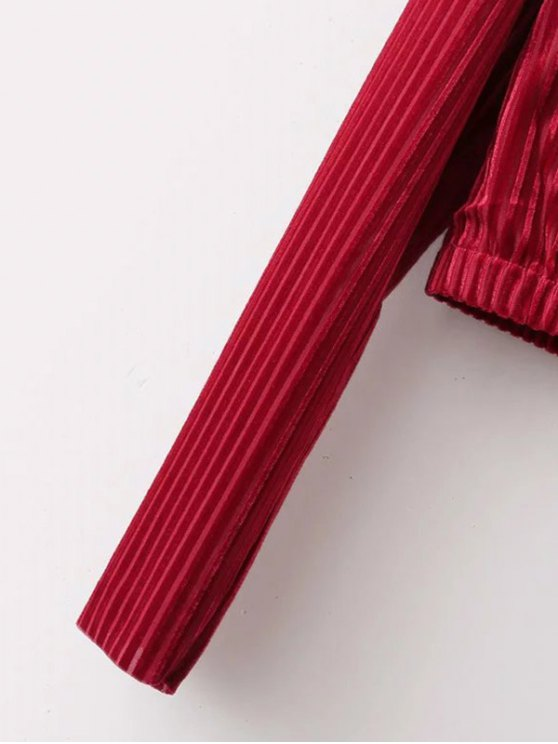 Ribbed Long Sleeve T-Shirt - RED S Mobile