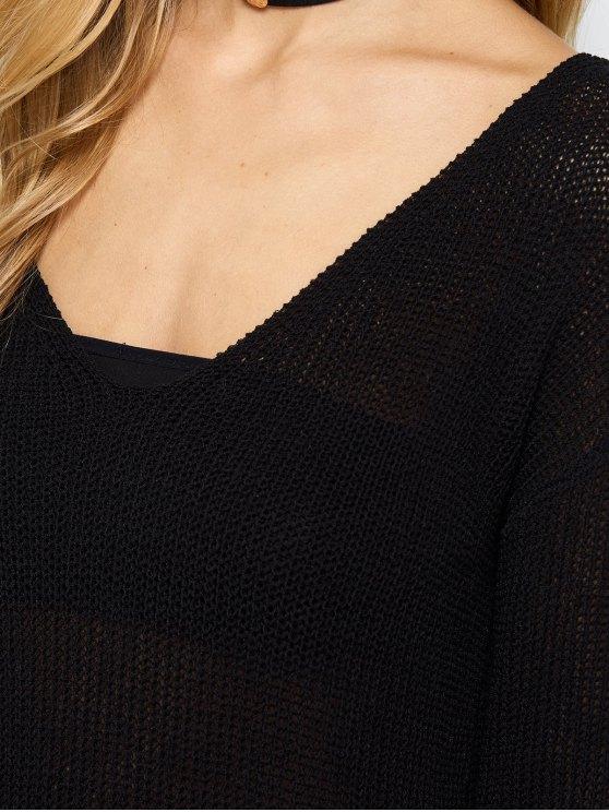 V Neck Open Stitch Sweater - BLACK ONE SIZE Mobile