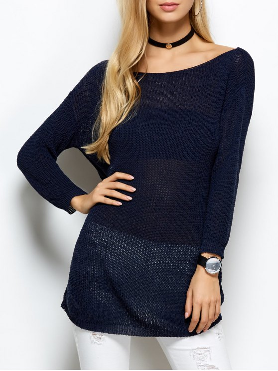 Slash Neck Open Stitch Sweater - BLUE ONE SIZE Mobile