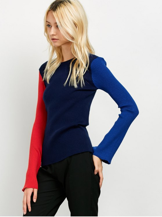 Contrast Bell Sleeve Ribbed Sweater - CADETBLUE ONE SIZE Mobile