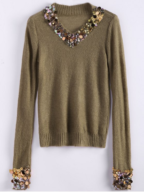 V Neck Sequins Sweater - CAMEL ONE SIZE Mobile