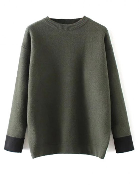 Crew Neck Drop Shoulder Sweater - GREEN ONE SIZE Mobile