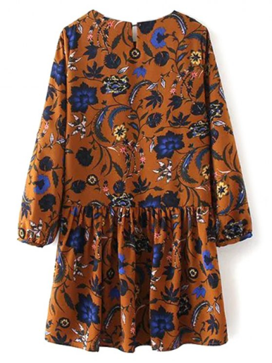Floral Long Sleeve Drop Waist Dress - GINGER M Mobile