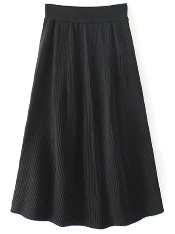 Knitted Ribbed Midi Skirt - BLACK ONE SIZE Mobile