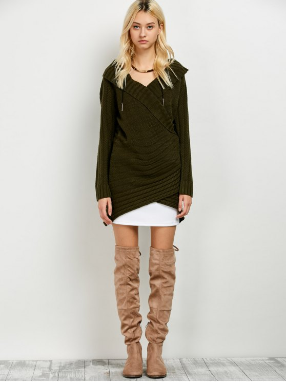 Longline Surplice Sweater - ARMY GREEN ONE SIZE Mobile