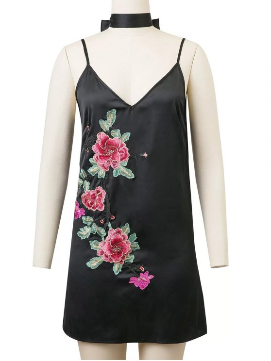 Cami Rose Embroidered A-Line Dress - BLACK S Mobile