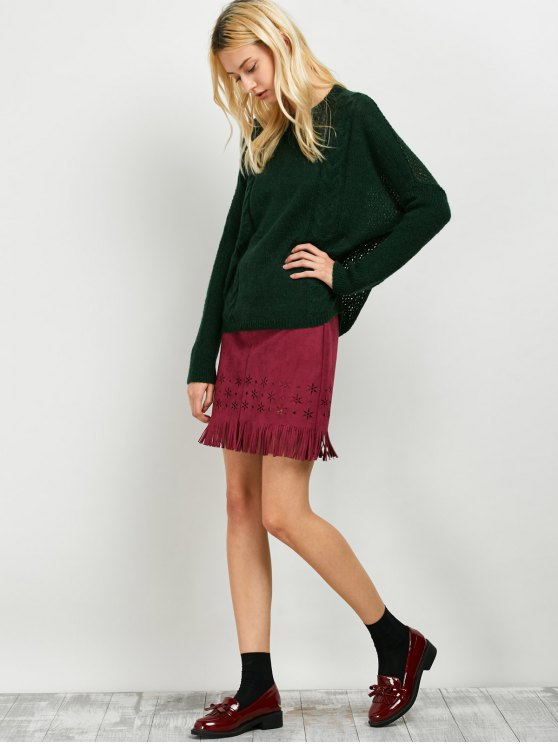 Cable Knit Batwing Sleeve Jumper - GREEN ONE SIZE Mobile
