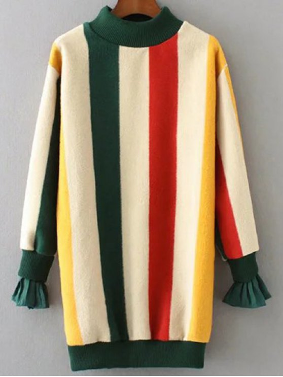 Mock Neck Striped Fluffy Sweater - GREEN L Mobile