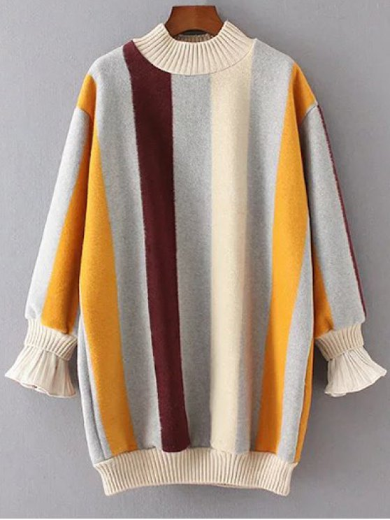 Mock Neck Striped Fluffy Sweater - KHAKI L Mobile