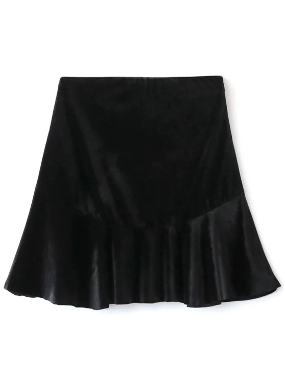 Flounced Velvet A-Line Skirt - BLACK L Mobile