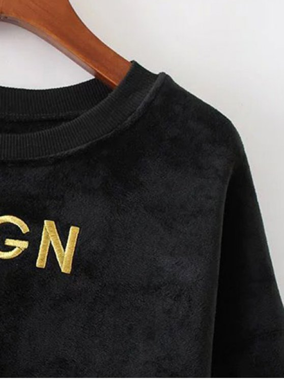 Embroidered Sequin Fluffy Sweatshirt - BLACK L Mobile