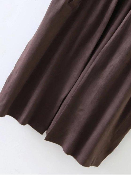 Longline Side Slit Suede Waistcoat - COFFEE L Mobile