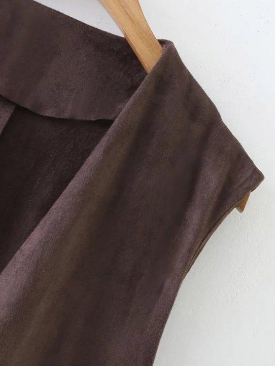 Longline Side Slit Suede Waistcoat - BLACK L Mobile