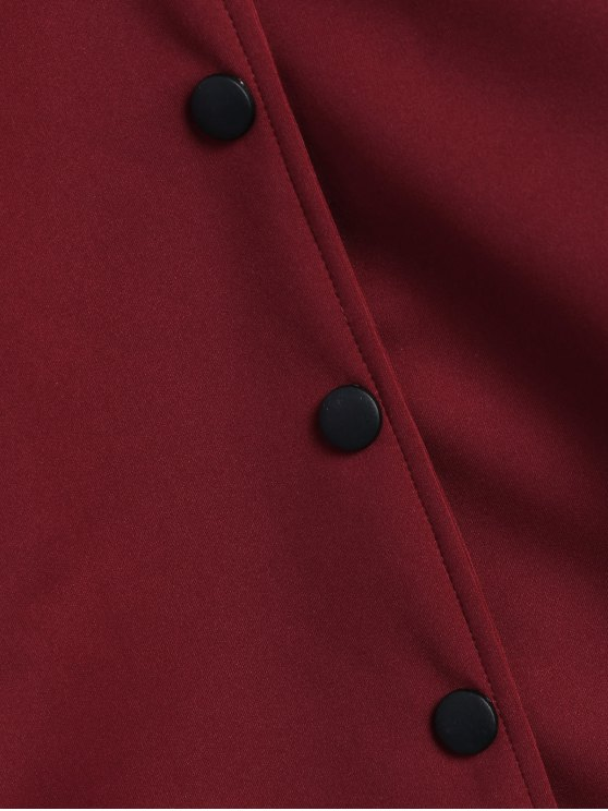 Single-Breasted Baseball Coat - BURGUNDY ONE SIZE Mobile